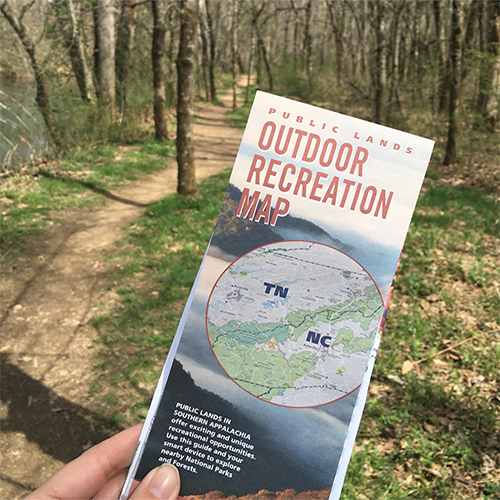 Hiking map on trail